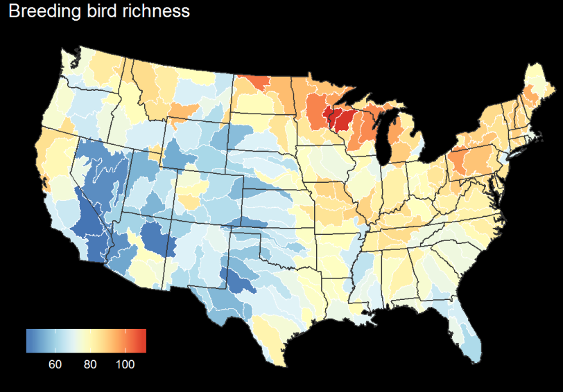 Breeding bird diversity by USGS HUC4 unit - figure by QDR